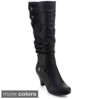 Top Moda Women's 'Bag-56' Buckle Slouched Knee-high Boots