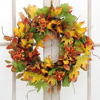 Jane Seymour Botanicals Autumn Leaf and Bittersweet Wreath
