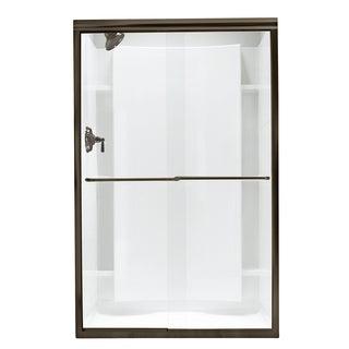Finesse Frameless Bypass Shower Door in Deep Bronze with Clear Glass