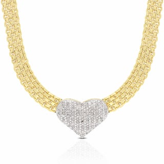 Finesque 1/2ct TDW Diamond Heart Necklace with Gift Box (I-J, I2-I3)