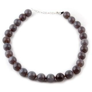 18-inch Grey Agate Gemstone Necklace