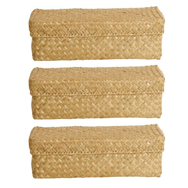 Natural Seagrass-Reed Box (Set of 3)
