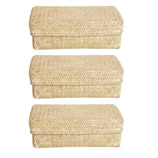 Whitewash Seagrass-reed Basket with Lid (Set of 3)