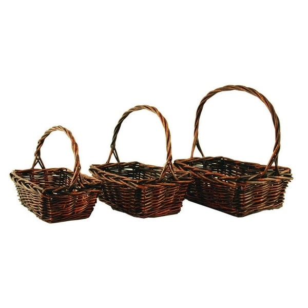 Wald Imports Stained Willow Baskets (Set of 3)