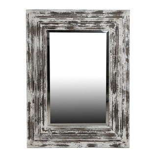 White Distressed Reclaimed Wood Mirror