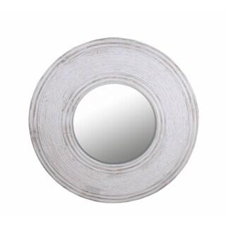 48-inch Round Whitewash Mirror