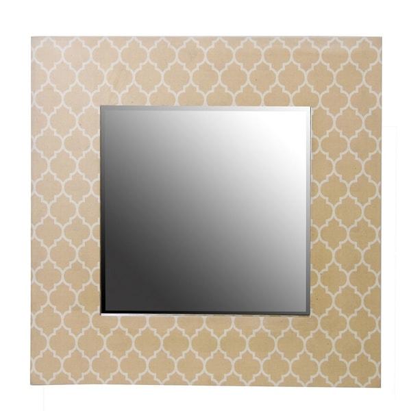 30-inch Beige Wood Framed Mirror