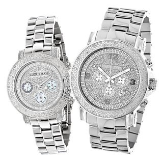 Luxurman Oversized His and Hers Diamond Watch Set