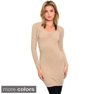 Stanzino Women's Long Sleeve Form-fitting Tunic Sweater