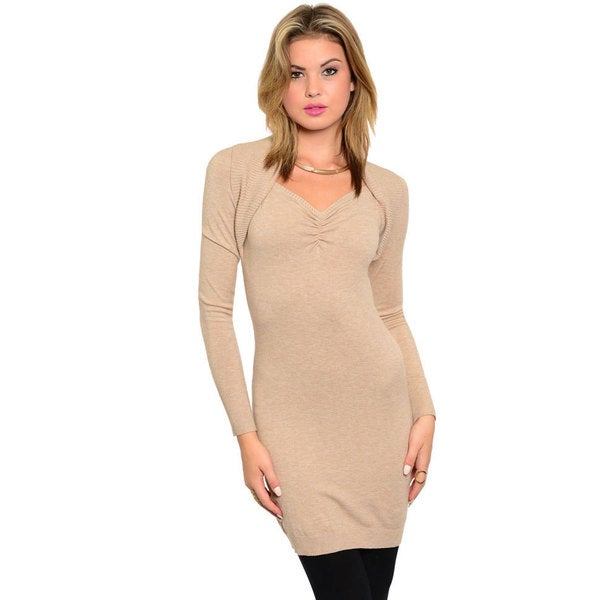 Stanzino Women's Long Sleeve Form-fitting Tunic Sweater