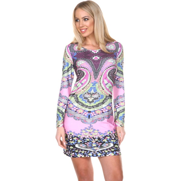 White Mark Women's 'Eleanor' Bell Sleeve Mini Dress