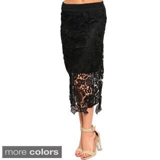 Stanzino Women's Mid-Length Floral Crochet Banded Waist Skirt