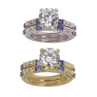 NEXTE Jewelry Blue and White Cubic Zirconia Bridal Ring Set