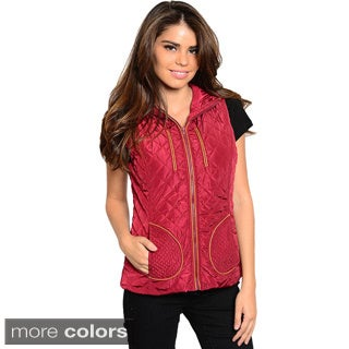 Feellib Women's Diamond Quilted Vest with Attached Hoodie
