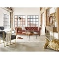 Aurelle Home Erros Brown Top Grain Leather Sofa