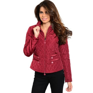 Feellib Women's Long Sleeve Boxy Fit Quilted Jacket With Front Zip Closure And Zip Pocket Detailing