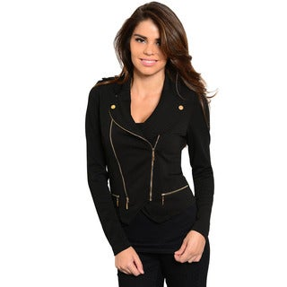 Shop The Trends Women's Long Sleeve Knit Jacket with Asymmetric Zipper