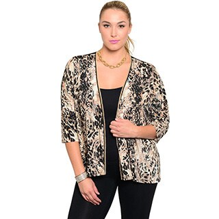 Shop The Trends Women's Plus Size Leopard 3/4-sleeve Open Front Cardigan