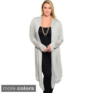 Feellib Women's Plus Size Long Sleeve Open Knit Cardigan with Hi-low Hemline
