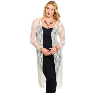 Feellib Women's Plus Size Long Sleeve Sheer Floral Lace Cardigan
