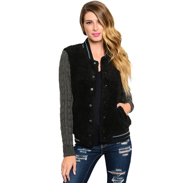 Shop The Trends Women's Long Sleeve Fuzzy Fur Varsity Jacket