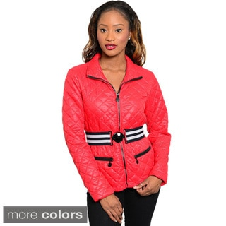 Feellib Women's Long Sleeve Quilted Jacket with Elasticized Stripe Belt