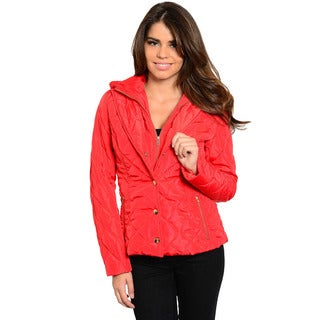 Shop The Trends Women's Long Sleeve Quilted Jacket with Button/ Zip Front
