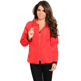 Feellib Women's Long Sleeve Quilted Jacket with Drawstring Hoddie