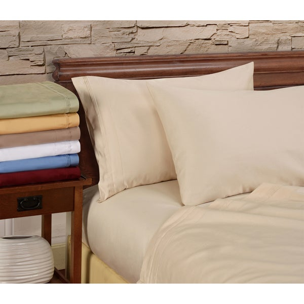 Egyptian Cotton 1000 Thread Count Solid White Queen-size Sheet Set in White (As Is Item)