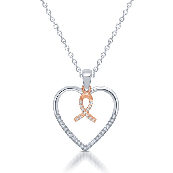 10k Rose Gold and Sterling Silver 'Silhouettes Of Love' Diamond Accent Heart Pendant