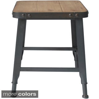 Wood/ Iron Industrial End Table