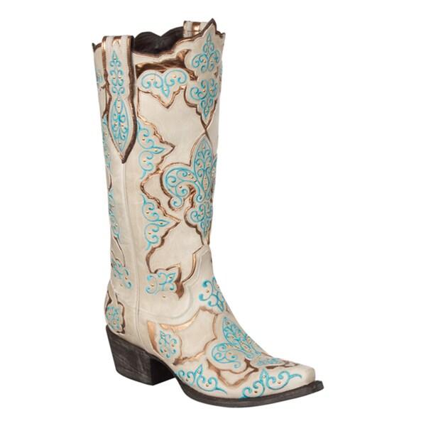Lane Boots Women's 'Creole Lady' Beige/ Blue Cowboy Boots