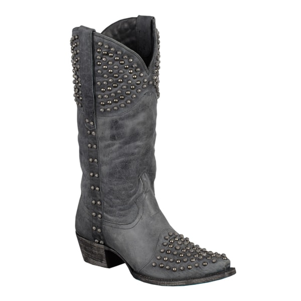 Lane Boots Women's 'Rock On' Grey Stud Cowboy Boots