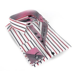 Coogi Luxe Men's Black Red/ White Striped Button Down Dress Shirt