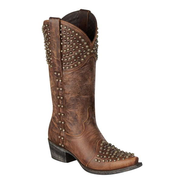 Lane Boots Women's 'Rock On' Brown Stud Cowboy Boots