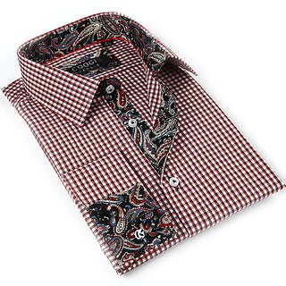 Coogi Luxe Men's White Red/ Paisley Button Down Dress Shirt