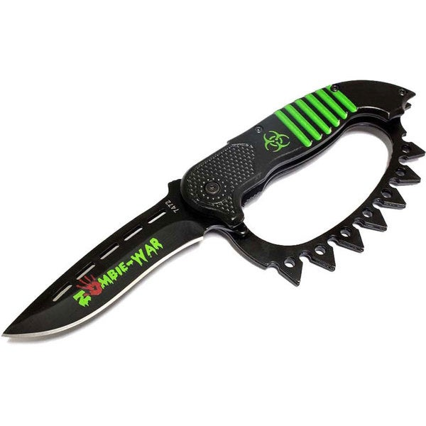 """8.5"""" Zombie War Green Red or Yellow Spring Assisted Knife with Belt Clip"""