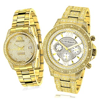 Luxurman Classic Diamond His and Hers Watch Set