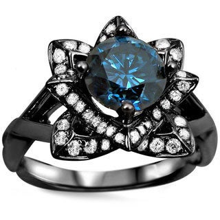 14k Black Gold 1 1/4ctw Blue Round Diamond Lotus Flower Engagement Ring (SI1-SI2)