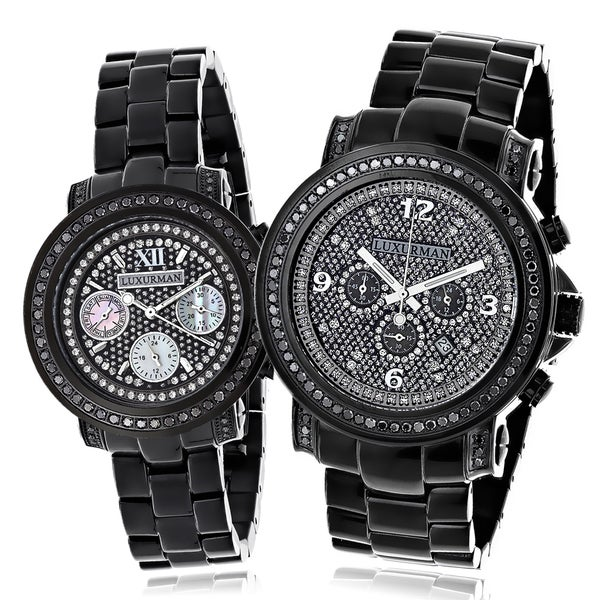 Luxurman His and Hers Oversized Black Diamond Watch Set