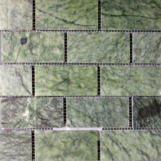 Surfaces USA 2 x 4 Ocean Green Polished Marble Mosaic (Pack of 10)