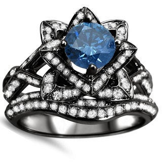 14k Black Gold 2ct Blue Round Diamond Lotus Flower Engagement Ring Bridal Set (SI1-SI2)