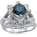 14k White Gold 1 3/4ctw Blue Round Diamond Lotus Flower Engagement Ring Bridal Ring Set (SI1-SI2)