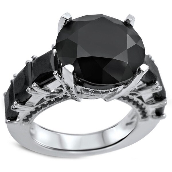 Noori 14k White Gold 9ct Round-cut Black Certified Round Diamond Ring