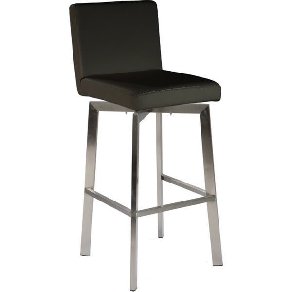 Aurelle Home Black Swivel Bar Stool in White(As Is Item)