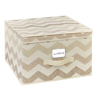 The Macbeth Collection Jumbo Textured Chevron Printed Storage Box
