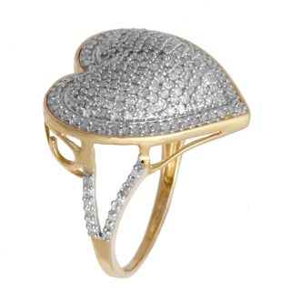 10k Yellow Gold 3/4ct TDW Pave Diamond Heart Ring (H-I, SI1-SI2)
