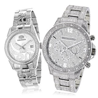 Luxurman Iced Out Diamond His and Hers Watch Set