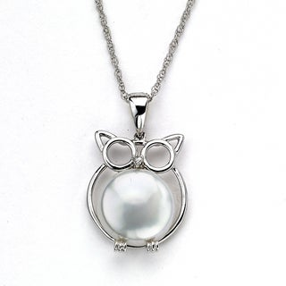 Soho Boutique by Neda Behnam 14k White Gold Freshwater Pearl and Diamond Accent Owl Pendant Necklace