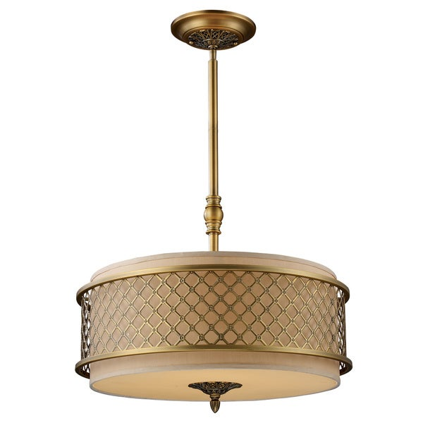 Chester 4-light Brushed Antique Brass Pendant